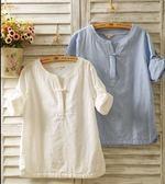 春夏棉麻女襯衫七分袖亞麻盤扣長袖寬鬆民族風短袖T恤上衣 瑪麗蓮安