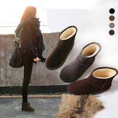 雪靴(35-44)大尺碼雪地靴女短筒靴刷毛加厚情侶短靴男棉鞋學生女靴