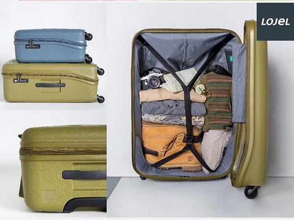 CROWN皇冠 LOJEL VITA PP材質防爆拉鍊 28分箱體登機箱/旅行箱-22吋-橄欖綠