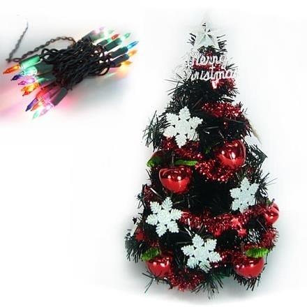 【南紡購物中心】【摩達客】台灣製1尺黑色聖誕樹+雪花紅果裝飾+20燈鎢絲插電燈串