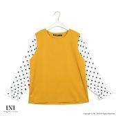【INI】搶眼甜美、拼接點點雪紡質感上衣.黃色