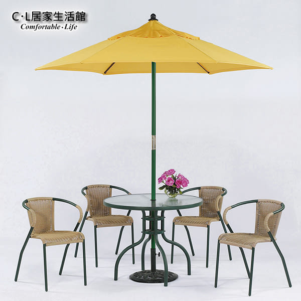 【 C . L 居家生活館 】Y830-5+Y835-3 休閒玻璃圓桌椅組(1桌4椅)含傘及傘座
