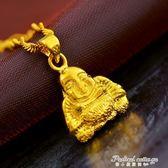 仿黃金24K首飾品鍍金項鏈磨沙小佛保平安開光結婚慶歐幣情人禮物·蒂小屋