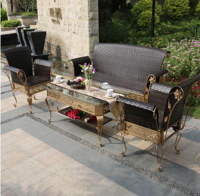 【南洋風休閒傢俱】休閒桌椅系列-鍛造戶外編藤沙發椅組 奢華編藤沙發 一桌三椅組