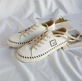 {丁果時尚}女鞋35-40►復古百搭線條帆布鞋休閒鞋小白鞋*3色