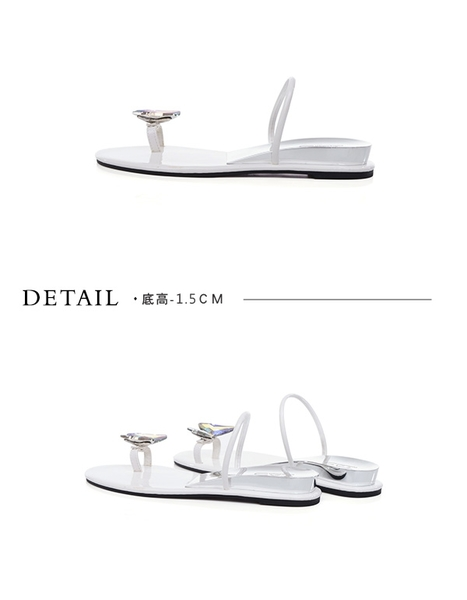 TAS蝴蝶鑽飾穿趾涼拖鞋-簡約白