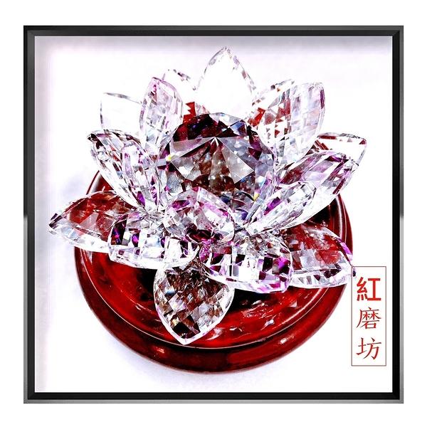 【Ruby工作坊】 一朵紫色奧地利水晶蓮花擺件+木架(加持祈福)【紅磨坊】NO.112LPU