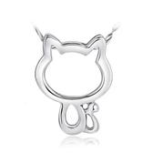 鏤空kitty貓吊墜 鍍銀項鍊 韓國版復古首飾珠寶《小師妹》ps146