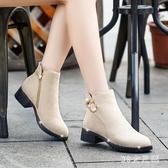 2019新款秋冬季加絨棉鞋單靴磨砂馬丁靴黑色學生鞋平底短靴潮 XN5535『MG大尺碼』