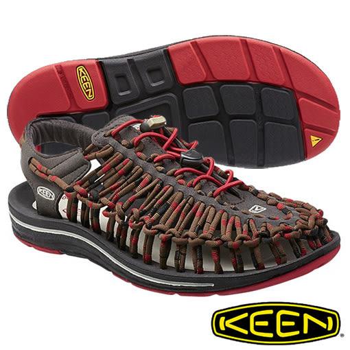 Keen UNEEK STRIPES 男 編織款拉繩涼鞋 深灰/紅/咖啡 1014620