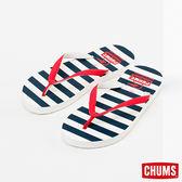 【絕版品】CHUMS 日本 海灘拖鞋 夾腳拖 海軍藍/橫條 CH631006Z040