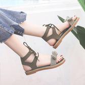 涼鞋女平底鞋蝴蝶結 夏季新品學生可愛仙女風ins潮 女鞋子