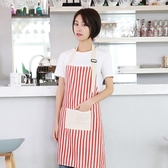 圍裙清潔神器利得時尚棉麻無袖圍裙家居廚房烘焙用條紋粉工作服 嬡孕哺
