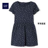 Gap女嬰幼童 休閒圓領繫結衣袖基本款T恤式洋裝 307071-零落星星
