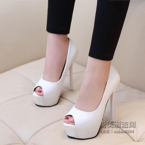 特價女鞋 14CM性感細跟單鞋夜店超高跟鞋防水台黑色厚底魚嘴鞋