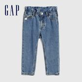 Gap女幼童 甜美荷葉邊飾鬆緊腰牛仔褲 609739-靛藍色