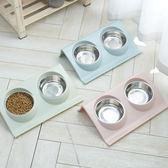 寵物餐具 不銹鋼寵物碗防滑狗碗防漏小型犬泰迪比熊雙碗食盆貓咪飯碗貓飯盆·夏茉生活