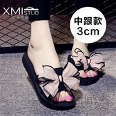 新款夾板腳趾頭拖鞋女夏時尚 外穿平底夾趾泡沫底花朵拖   衣櫥の秘密