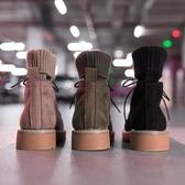 機車短靴單馬丁靴女新款秋季英倫風學生復古韓版百搭襪子insMandyc