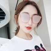 現貨-韓版ulzzang太陽眼鏡新款原宿復古男女炫彩復古金屬眼鏡 時尚百搭 歐美反光貓眼墨鏡 222
