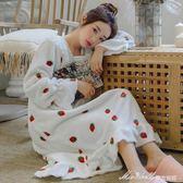 韓版甜美加長款法蘭絨睡裙女宮廷風珊瑚絨睡袍加厚保暖睡衣   蜜拉貝爾
