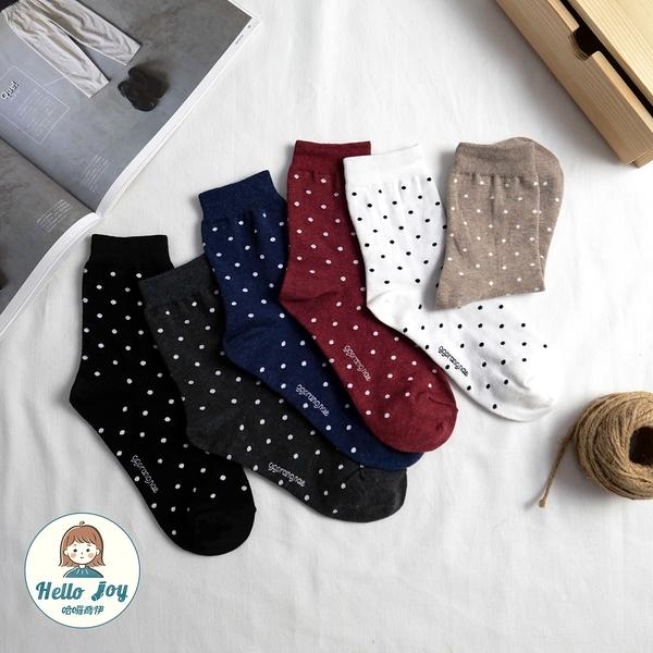 【正韓直送】韓國襪子 簡單好搭小點點中筒襪 韓妞必備 長襪 文青百搭款 女襪 哈囉喬伊A118