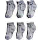 Nike 男女兒童6組脚踝運動襪(灰色)