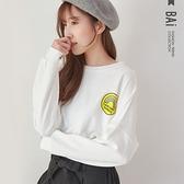 T恤 個性彩虹英字膠印圖案寬版圓領上衣-BAi白媽媽【301798】