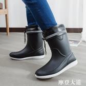 春夏季男士雨鞋中筒防滑防水時尚雨靴工作鞋洗車保暖水鞋釣魚膠鞋『摩登大道』