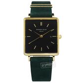 ROSEFIELD / QBFGG-Q031 / 簡約典雅 復古方形 日本機芯 日期 真皮手錶 黑x金框x森林綠 26mm