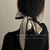 法式高級感字母窄長絲巾極簡複古ins風溫柔優雅綁發飄帶 極簡雜貨