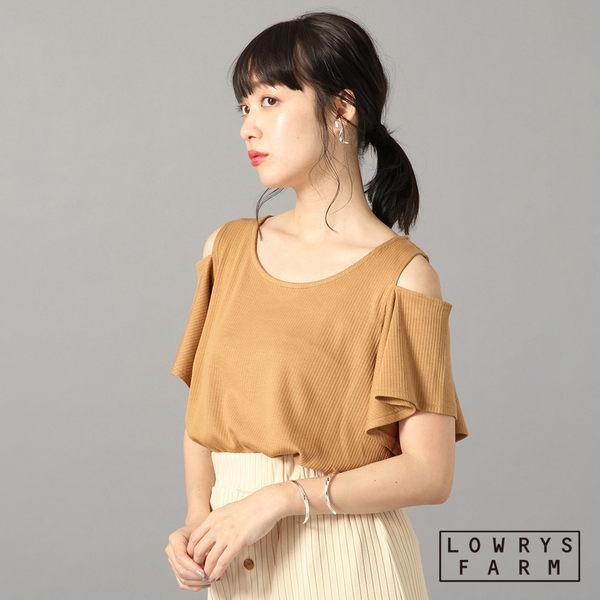 LOWRYS FARM素色條紋坑條圓領肩線開衩寬袖短袖上衣-四色