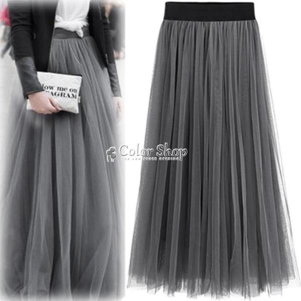 200斤胖mm顯瘦中長款大擺裙大碼網紗百褶半身裙 快速出貨