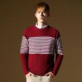 長袖針織衫-簡約紅白撞色線條男針織毛衣73ik67【時尚巴黎】