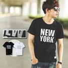 T恤 幾何雷射反光NEW YORK文字短...