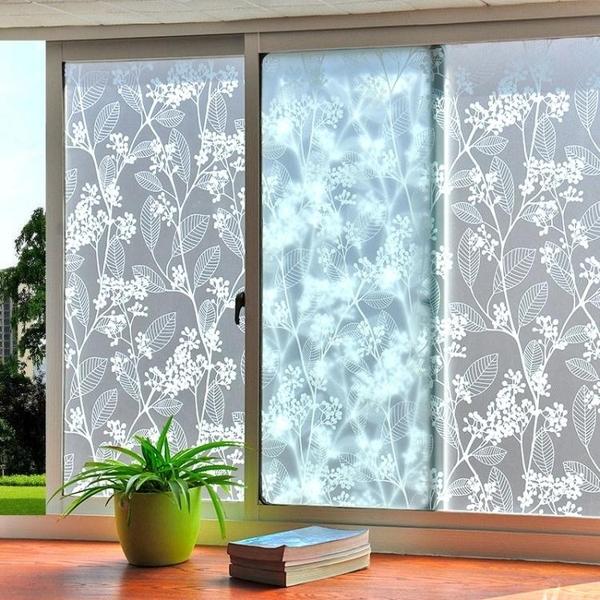 窗貼 免膠靜電玻璃貼膜磨砂浴室衛生間窗戶貼紙透光不透明窗貼玻璃紙 萬寶屋