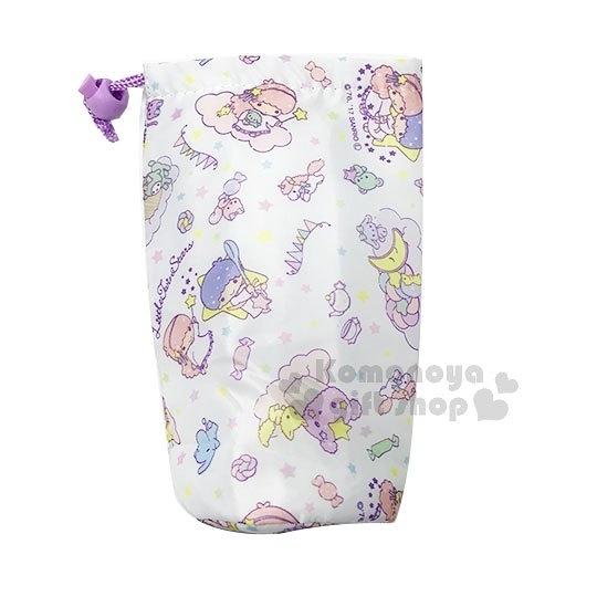 〔小禮堂〕雙子星 保冷束口水壺袋《白紫.星星.手拉手.滿版》銅板小物 4573135-57093