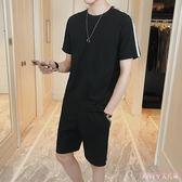 (一套)2019夏季大碼運動套裝男士短袖t恤褲裝韓版新款冰絲半袖兩件套 DR25785【Rose中大尺碼】
