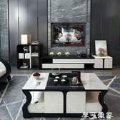 電視櫃電視機櫃茶幾背景組合墻簡約現代家具套裝客廳北歐伸縮小戶型地櫃 igo摩可美家