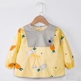 寶寶罩衣兒童防水圍兜小孩吃飯長袖純棉女圍裙嬰兒防臟護衣反穿衣