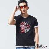 【夏季優惠】剪接錯位鬼頭短袖T恤(黑) - BLUE WAY 鬼洗い