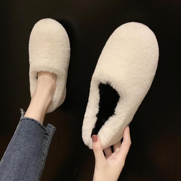 豆豆鞋 懶人毛毛鞋女鞋2019新款秋鞋秋季冬季外穿加絨百搭豆豆棉鞋子潮鞋 玫瑰