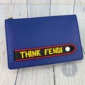 BRAND楓月 FENDI 芬迪 7VA350 藍色 皮革 皮質 THINK 手拿包 隨身包包