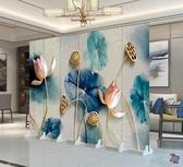 屏風 屏風隔斷客廳歐式簡約現代玄關定製布藝中式行動酒店簡易折疊折屏T 多色