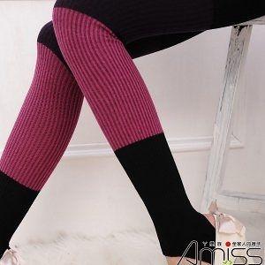 Amiss【A608-1】棉質保暖‧三色拼接踩腳褲襪(4色)