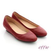 effie 職場通勤 羊絨低跟素面包頭鞋-暗紅