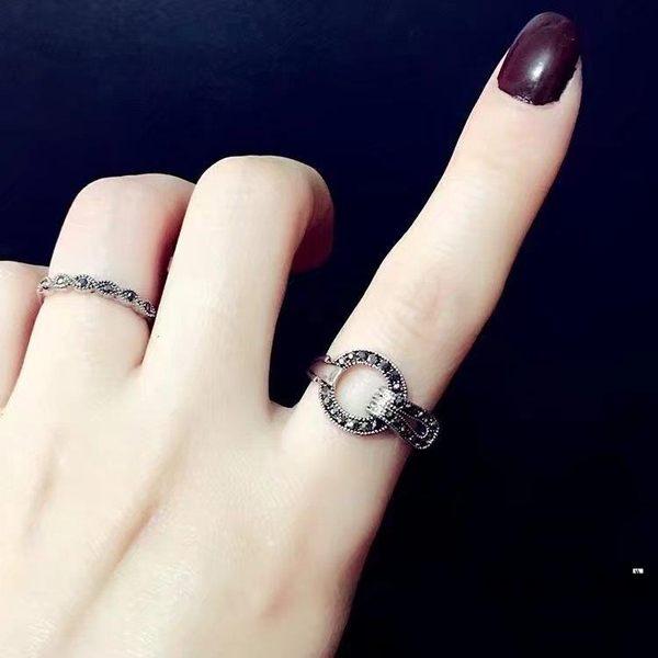 韓版時尚復古食中指指環女鑲鉆水晶戒指【時尚大衣櫥】