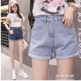 夏裝牛仔短褲女高腰薄款捲邊學生寬鬆顯瘦韓版大碼寬管褲 可可鞋櫃
