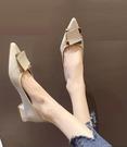 粗跟鞋 粗跟單鞋女2021年春款新款尖頭仙女鞋溫柔平底低跟配裙子豆豆鞋子