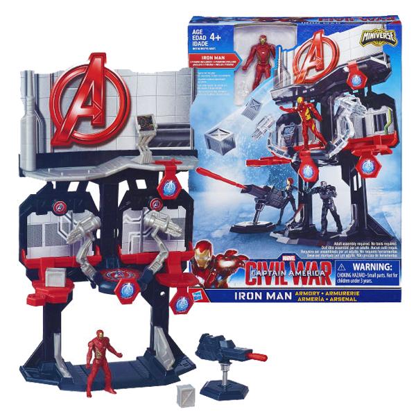 【Hasbro 孩之寶】漫威 Marvel Legends 美國隊長3 鋼鐵人 2.5吋 人物變臉基地組 W1